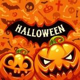 Halloween Pumpkins Card With Bat Silhouette Stock Photos