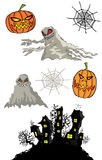 Halloween pumpkins cartoon ghost and haunted castle Royalty Free Stock Image