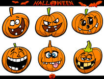 Halloween pumpkins cartoon set Stock Image