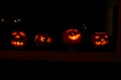 Halloween - Pumpkins. Halloween pumpkins carved and lit Royalty Free Stock Photography