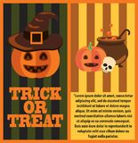 Halloween Pumpkins and Cast-Iron Vat of Potion. Halloween pumpkins, witch hat, cast-iron vat of magic potion and human skull on festive poster with sample text Stock Image