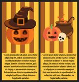 Halloween Pumpkins and Cast-Iron Vat of Potion. Halloween pumpkins, witch hat, cast-iron vat of magic potion and human skull on festive poster with sample text Royalty Free Stock Photography