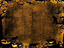 Halloween pumpkins cats and bats - dark lights background Royalty Free Stock Images