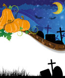 Halloween pumpkins on the cemetery Royalty Free Stock Image