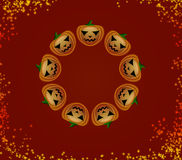 Halloween pumpkins in a circle Stock Photo