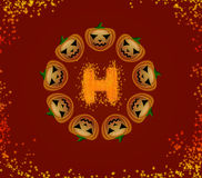 Halloween pumpkins  in a circle Stock Photography