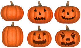 Halloween pumpkins collection isolated Royalty Free Stock Photography