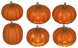 Halloween pumpkins collection with light Stock Image