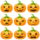 Halloween Pumpkins Collection. Set of nine funny Halloween pumpkins with different facial expressions, isolated on white background. Eps file available Stock Images