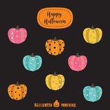 Halloween pumpkins colorful icon set flat design vector illustra. Tion Halloween design template for greeting card, ad, promotion, poster, flier, blog, article Royalty Free Stock Photos