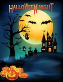 Halloween night party, Halloween pumpkins dark castle, graveyard with full moon background royalty free illustration