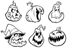 Halloween Pumpkins curved with jack o lantern face.  Vector cartoon illustration. Strokes and outlines Royalty Free Stock Images