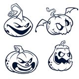 Halloween Pumpkins curved with jack o lantern face.  Vector cartoon illustration. Strokes and outlines. Stock Photography