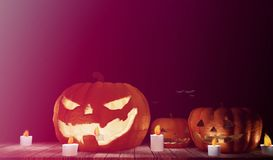 Halloween pumpkins 3d illustration with candles and wooden plank. S design Stock Photos
