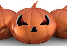Halloween pumpkins. 3D render illustration of three Halloween pumpkins isolated on a white background with shadows Royalty Free Stock Image