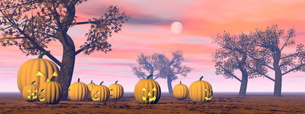 Halloween pumpkins - 3D render Stock Images