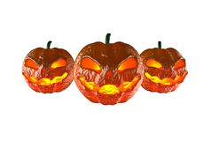 Halloween pumpkins. 3d render of three Halloween pumpkins without background Royalty Free Stock Image