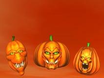 Halloween pumpkins - 3D render Stock Photos