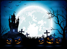 Halloween pumpkins and dark castle Royalty Free Stock Images
