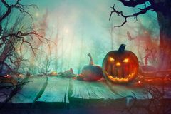 Halloween with Pumpkin and Dark Forest. Scary Halloween Design royalty free stock photos