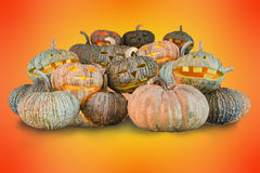 Halloween pumpkins. Pumpkins for halloween day on orange background stock photo
