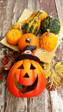 Halloween pumpkins. Halloween decor with pumpkins and some leaves Royalty Free Stock Image
