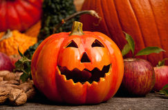 Halloween pumpkins with decoration Royalty Free Stock Photos