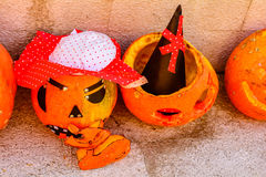 Halloween pumpkins. Halloween decoration pumpkins in Montenegro royalty free stock photos