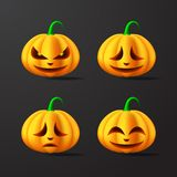 Halloween Pumpkins with different facial expressions Illustration. Vector royalty free illustration