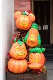 Halloween pumpkins of Disneyland Character Mascots of Mickey Mouse and friends. Hong Kong - October 4, 2016 : A closed up photo of Halloween Pumpkins of Disney stock photo