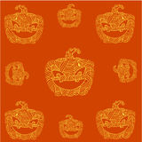 Halloween pumpkins doodle art orange backgrounds Royalty Free Stock Photo