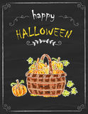 Halloween pumpkins doodle on the black board Royalty Free Stock Image