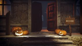 Halloween pumpkins on the doorstep Royalty Free Stock Photos