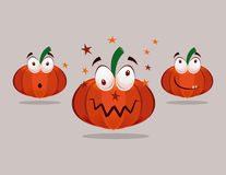 Halloween Pumpkins with Emotions Royalty Free Stock Photo