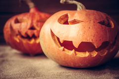 Halloween pumpkins with evil smile. Halloween jack o lanterns with evil smile stock photography