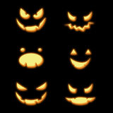 Halloween pumpkins faces Stock Photography