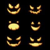 Halloween pumpkins faces. Halloween pumpkin spooky faces in the dark stock illustration