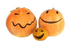 Halloween pumpkins family. With the smily faces Stock Photos