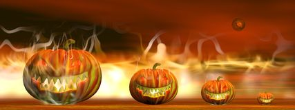 Halloween pumpkins in fire - 3D render Stock Images