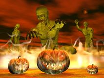 Halloween pumpkins in fire - 3D render Stock Photography