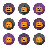 Halloween pumpkins flat circle icons set Royalty Free Stock Images