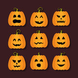 Halloween pumpkins flat icons set Royalty Free Stock Photography