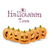 Halloween pumpkins flat isolated set different emotion variation vector illustration Royalty Free Stock Photography