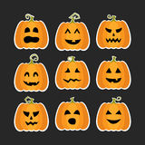 Halloween pumpkins flat stikers set Stock Photo