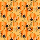 Halloween pumpkins and flowers seamless pattern. Halloween decoration royalty free illustration