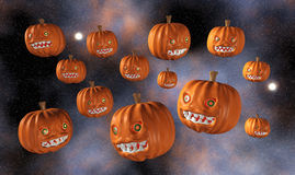 Halloween Pumpkins Flying, isolated Royalty Free Stock Photography