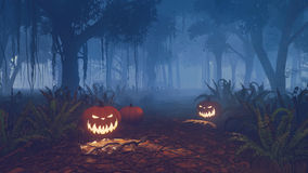 Halloween pumpkins on the forest trail Stock Photo