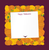 Halloween. Pumpkins in the form of a square. Greeting card Stock Photos