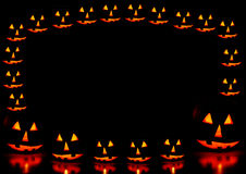 Halloween pumpkins frame. With background Stock Images