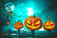 Halloween pumpkins in front of nightly spooky forest Royalty Free Stock Photos